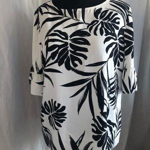 Collections Black & White Blouse with Palm Design